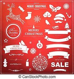 集合, 符號, bokeh, 背景, 聖誕節, 紅色