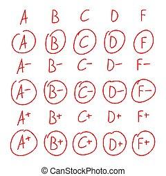 集合, 等級, 手, 標記, 畫, 紅色, design.
