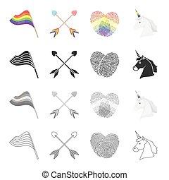 集合, 箭, 單色, 性, 彩虹, 風格, 圖象, 旗, 黑色, 股票, 少數, 符號, web., 插圖, 指紋, 彙整, 獨角獸, 卡通, outline, 矢量, 橫渡, head.