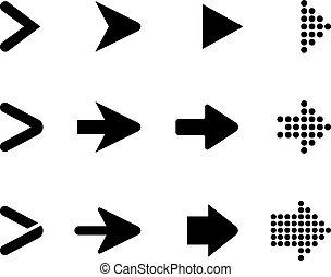 集合, 箭, 彙整, 矢量, 黑色, arrows.