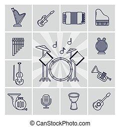 集合, 線性, 圖象, 儀器, 矢量, 音樂