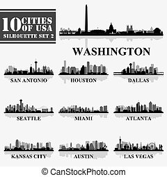 集合, 美國, grayscale, 黑色半面畫像, 2, 城市