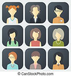 集合, 臉, 女性, 圖象