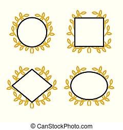 集合, 花冠, 插圖, 矢量, 彙整, 框架, 幾何學, 直系, style., 圖象