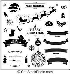 集合, 葡萄酒, 符號, 黑色, 帶子, 聖誕節