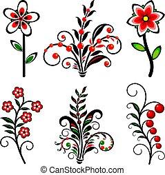 集合, 被風格化, flowers.