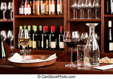 集合, 酒吧, 品嘗, 向上, 裝飾, 托盤, 酒
