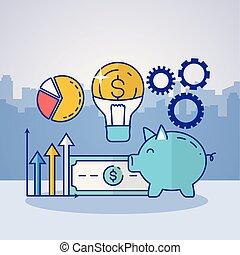 集合, 金融, 技術 像