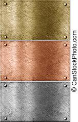 集合, 鋁, 金, (brass), 金屬, 包括, 盤子, (copper), 青銅