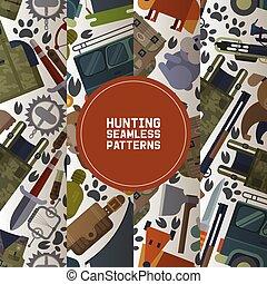 集合, 附件, 汽車, 這樣, 打獵, carbine, arbalest, seamless, 設備, 獵人, 動物, 步槍, crossbow, 刀, illustration., 吉普車, 槍, 圖樣, 矢量, 俘獲, axe., 荒野