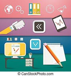 集合, 電腦, 商務圖標, 符號, 矢量, 技術