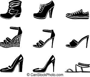 集合, 鞋子, womanish, 圖象