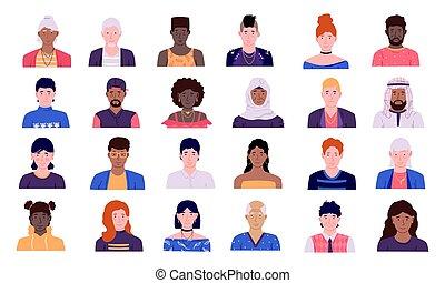 集合, 頭, 風格, 彙整, 外形, 前面, 矢量, 心不在焉地亂寫亂畫, 婦女, avatars., 圖象, 不同, 人, 簡單, 男性, 字, 看法, 卡通, 女性, 肩, 比賽, 人們, 人, 肖像, 用戶