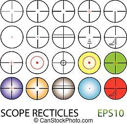 集合, 顏色, 十字准線, 包括, 夜晚, reticles, 視覺