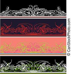 集合, 顏色, 四個元素, 設計, 邊框
