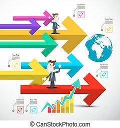 集合, 鮮艷, 圖象, 圖表, 全球, 箭, infographics., 紙, 箭, 技術