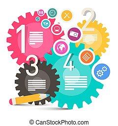 集合, 鮮艷, 圖象, 嵌齒輪, -, 矢量, 齒輪, infographics, 環繞