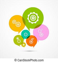 集合, 鮮艷, 圖象, 嵌齒輪, -, 被隔离, 矢量, 齒輪, 背景, 環繞, 白色