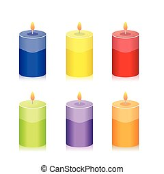 集合, 鮮艷, 蠟燭