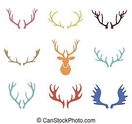 集合, 鹿, 手, 背景。, 角, 畫, 白色