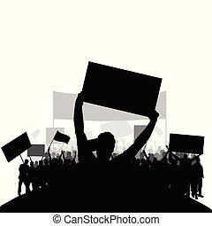 集合, 黑色半面畫像, 人們, 背, 二, 抗議, 矢量, 組