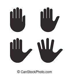 集合, 黑色半面畫像, 彙整, 手, 黑色, 人類, 圖象