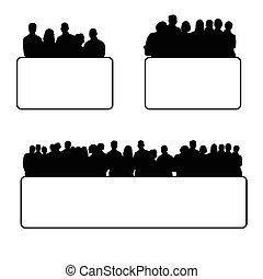 集合, 黑色半面畫像, 插圖, 人們