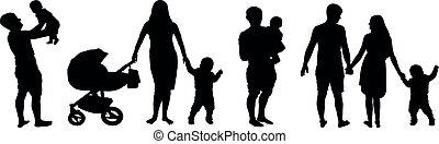 集合, 黑色半面畫像, 背景, 家庭, set., 被隔离, 車, 婦女, vector., 孩子, 嬰孩, 白色, 孩子, 人