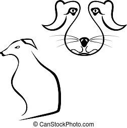 集合, 黑色半面畫像, illu, 被隔离, 背景。, 矢量, 白色, 狗