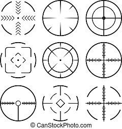 集合, 黑色, 十字准線, icons.