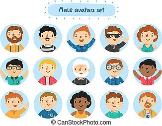 集合, 15, avatars, 字符, 男性