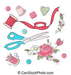集合, drawing., 縫紉, 插圖, 手, accessories., 矢量