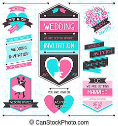 集合, elements., 婚禮, 設計, retro, 邀請
