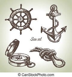 集合, elements., 手, 設計, 海, 船舶, 說明, 畫
