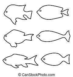集合, fish, -, 插圖, 黑色半面畫像, 矢量