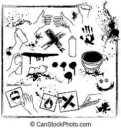 集合, graffiti, 破坏公物的行為