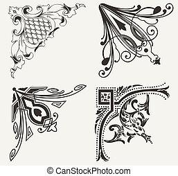 集合, hogh, corners., 四個元素, 裝飾華麗, design.