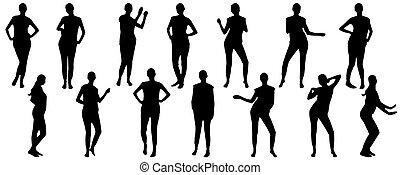 集合, illustration., 矢量, 跳舞, silhouettes., 婦女, 充分, 成長