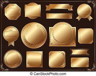 集合, illustration., 金, 標籤, 矢量, 各種各樣