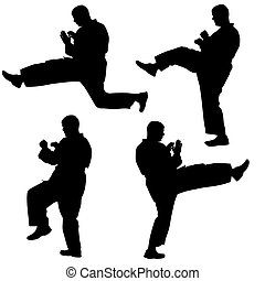 集合, illustration., karate., 黑色半面畫像, 矢量, 黑色, 運動