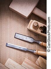 集合, joinerâ??s, 工作, 木制, 木頭, 板, textured, co, 工具