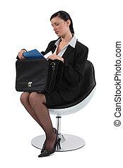 雇員, 椅子, 聰明, 坐