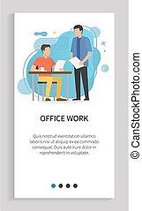 雇員, 辦公室, 人, 老板, 工作, 工人
