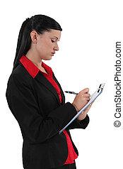 雇員, notepad, 年輕, 寫