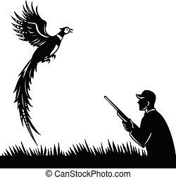 雉, 獵人, 白色, 黑色半面畫像, 打獵, retro, 步槍, 飛行, 向上, 鳥, 黑色