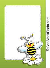 雛菊, 框架, 蜜蜂, 空白