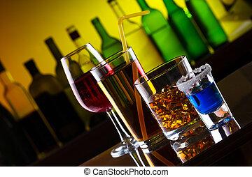 雞尾酒, 不同, 酒吧, 酒精, 喝