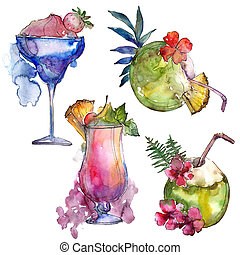 雞尾酒, 熱帶, 酒精, 集合, 黨, illustration., drink., 菜單, 酒吧, 餐館, 玻璃