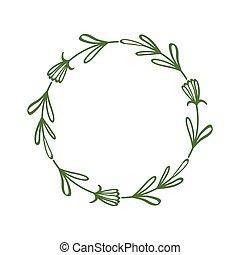 離開, 裝飾, 邀請, 摘要, flowers., 標簽, 末梢, 植物群的設計, 花, 花冠, 問候, circle., style., 卡片, 雅致, 邊框, 簡單, 框架, 最簡單派藝術家, 標簽, 線性