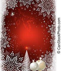 雪花, 樹, 設計, 球, 聖誕節, 紅色